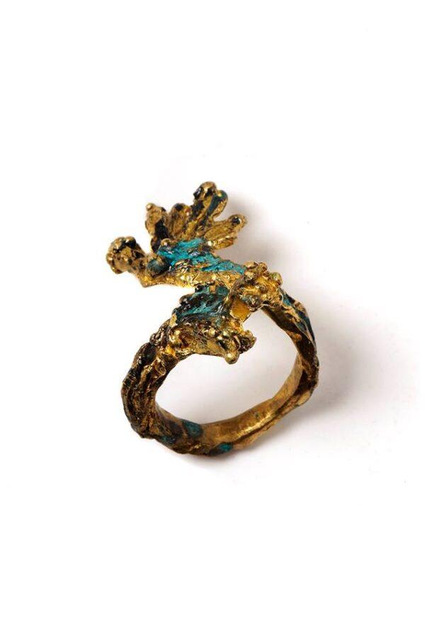 Χειροποίητο Δαχτυλίδι Γοργόνα από ορείχαλκο με οξείδωση