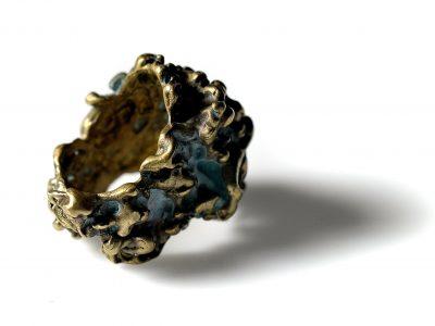 Χειροποίητο Δαχτυλίδι Ζωανθούς Κοράλι από οξειδωμένο ορείχαλκο