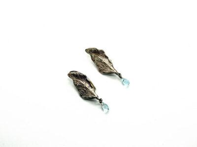 Χειροποίητα Σκουλαρίκια Φύλλο Ελιάς από ασήμι και ημιπολύτιμες πέτρες