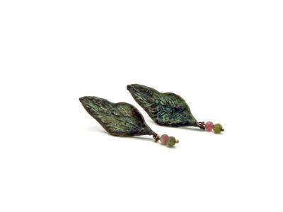 Χειροποίητα Σκουλαρίκια Φύλλο Ελιάς από ορείχαλκο και ημιπολύτιμες πέτρες