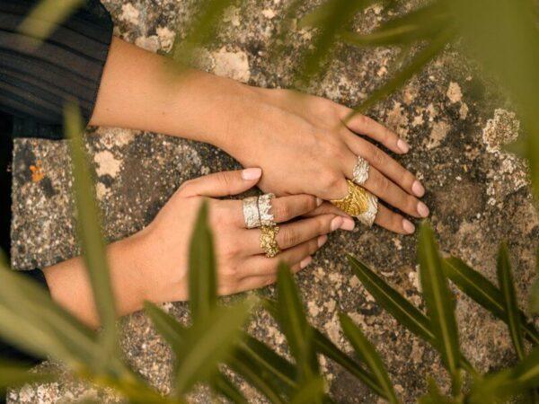 Χειροποίητο Δαχτυλίδι Γεωμετρική Αντανάκλαση από ασήμι και ορείχαλκο