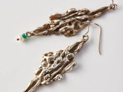 Χειροποίητα Σκουλαρίκια Σταλακτίτες από ασήμι με ημιπολύτιμες πέτρες
